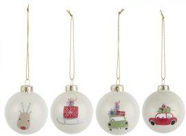 Vintage Karácsonyi 4 Darabos Akasztható Gömb- 6 cm.